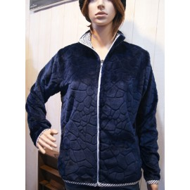 Women's Fleece Top Escale Nautic Poupe Navy