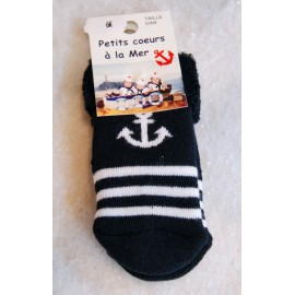 Papylou anti-slip baby socks Navy anchor