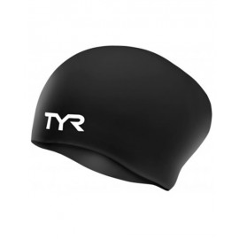 Swimming Cap in SILICONE TYR Long Black Hair