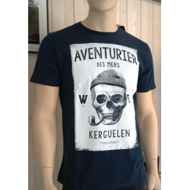 Tee Shirt Homme Stered Aventuriers Des Mers Encadré Marine