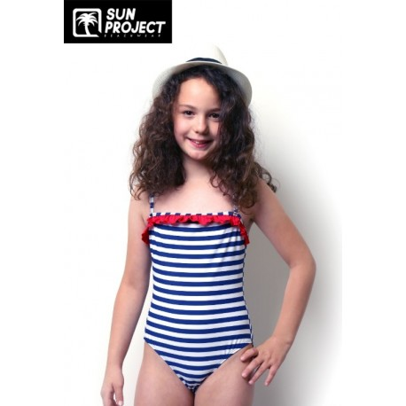 71f497cb4e50d0 Maillot de bain 1 Piece Enfant SUN PROJECT Rayures Bleu Marine Blanc -  Breizh Rider
