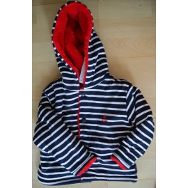 Jacket doubled Fleece Red baby Papylou Tréport Striped
