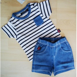 Baby Kit T-shirt and shorts Papylou Lacanau Striped Denim