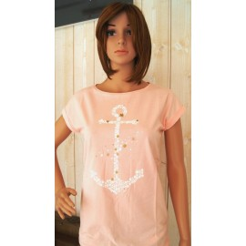 STERED Woman's Tee Shirt Anchor Fly Fishing