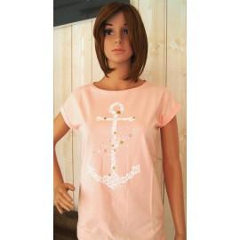 Tee Shirt Femme STERED Ancre Envolée Pêche