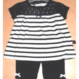 Baby Girl Papylou Agde Striped Navy Set