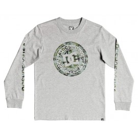 DC Circle Star Gray Long Sleeve Junior Tee Shirt Heather