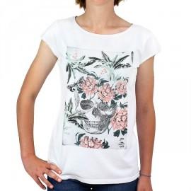 Tee Shirt Femme STERED Crâne Fleuri Blanc