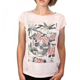 Tee Shirt Femme STERED Crâne Fleuri Pêche