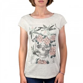 Tee Shirt Femme STERED Crâne Fleuri Chiné