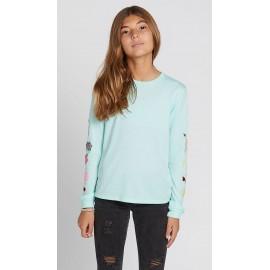 VOLCOM Junior Girl Long Sleeve Tee Shirt Made From Stoke Teal