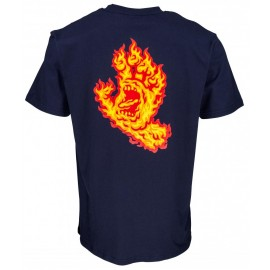Tee Shirt Santa Cruz Flame Hand Dark Navy