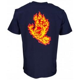 Tee Shirt Santa Cruz Flame Hand Dark Navy