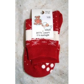 Anti-Slip Kids Socks Papylou Terry Red