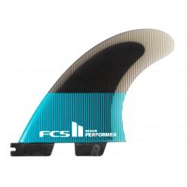 Ailerons FCSII Performer PC Medium Teal Black Tri Fins