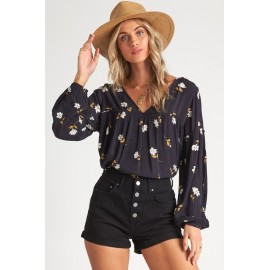 Billabong Shir Genius Black Floral Top