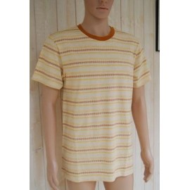 Men's T-Shirt RHYTHM Jacquard Stripe Vintage Yellow