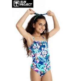 Maillot de bain 1 Piece Enfant SUN PROJECT Fleuri Bleu