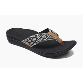 Women's Tong REEF Ortho Bounce Woven Black White