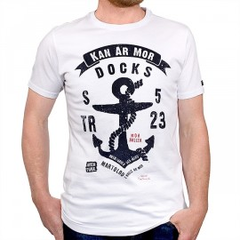Men's T-Shirt STERED Anchor Kan Ar Mor White