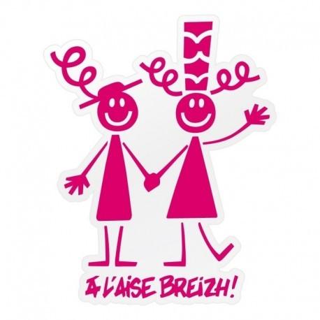 Autocollant Couple A L'Aise Breizh (19 cm) Moyen Fushia