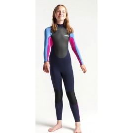 C-Skins Junior Girl Element 3/2mm BZ Wetsuit Slate Magenta Powder Blue