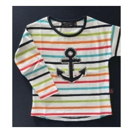 Children's long-sleeved sailor shirt PAPYLOU Antibes White Multico