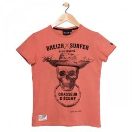 T-Shirt Child Stered Breizh Surfer Corail