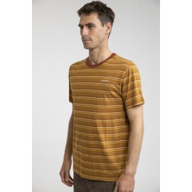 RHYTHM Men's Everyday Stripe Tobacco Tee Shirt