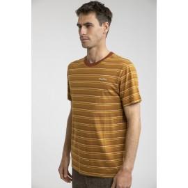 Tee Shirt Homme RHYTHM Everyday Stripe Tobacco