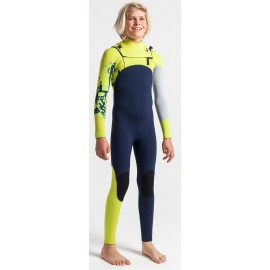 C-Skins Junior Session Chest Zip Wetsuit 5/4mm Slate Flash Green