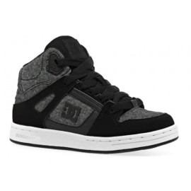 DC Junior Pure High Top Montantes Shoe Black Heather Gray