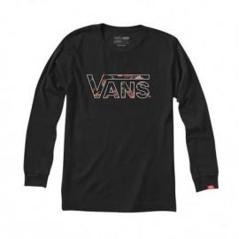Junior 's Long Sleeve Tee Shirt VANS Classic Black Death Bloom