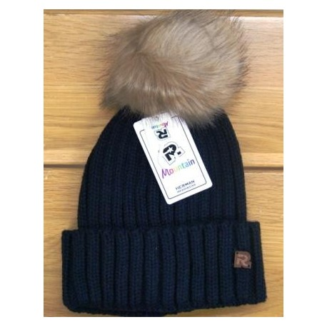 Women Beanie RMountain Kingdom Black Lapel Pompon Fake Fur