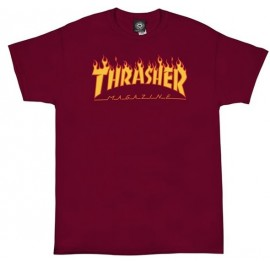 Thrasher Logo Flame Cardinal Red Tee Shirt