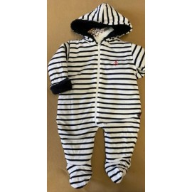 Papylou Ault Fleece Lined Baby Jumpsuit White and Navy
