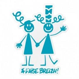 Autocollant Couple A L'Aise Breizh (19 cm) Moyen Turquoise