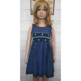 NAEL Hand Embroidered Handmade Smocked Child Dress Blue with White Dots