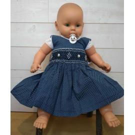 Robe Bébé à Smocks Artisanale Brodé Main NAEL Bleu à Pois Blanc