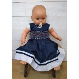Robe Bébé à Smocks Artisanale Brodé Main MARINETTE Bleu Blanc Rouge