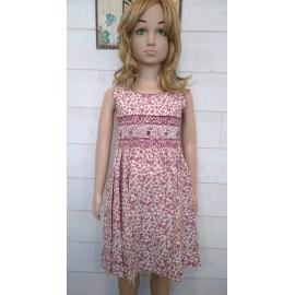 Hand-Embroidered Hand-Embroidered Children's Smocked Dress ROZENN Floral