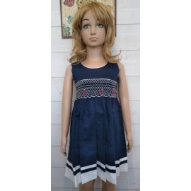 Hand-Embroidered Hand-Embroidered Child's Smock Dress MARINETTE Blue White Red