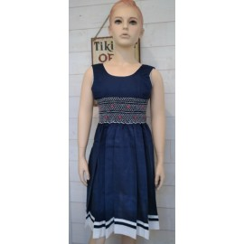 Hand-Embroidered Hand Embroidered Junior Dress MARINETTE Blue White Red