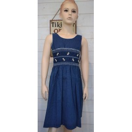 NAEL Hand Embroidered Handmade Smocked Junior Dress Blue with White Dots