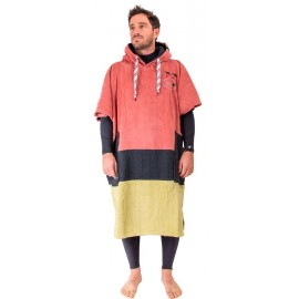 All-In V Bumpy Vision Brown Beige Black Waffle Poncho
