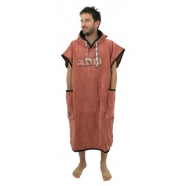 All-In Classic Bumpy Line Gammer Brown Black Waffle Poncho