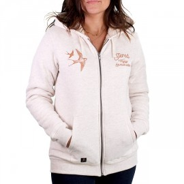 Women's Sherpa Lined Sweatshirt STERED Hirondelles Ecru Heather