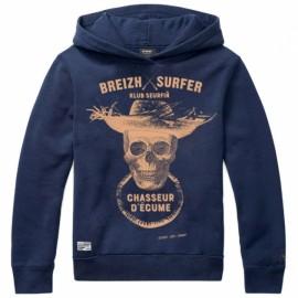 Hooded Kids Sweatshirt Stered Breizh Surfer Marine