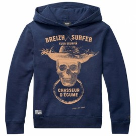Sweat Capuche Enfant Stered Breizh Surfer Marine