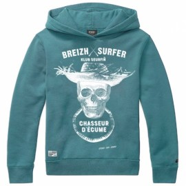 Hooded Kids Sweatshirt Stered Breizh Surfer Petrol